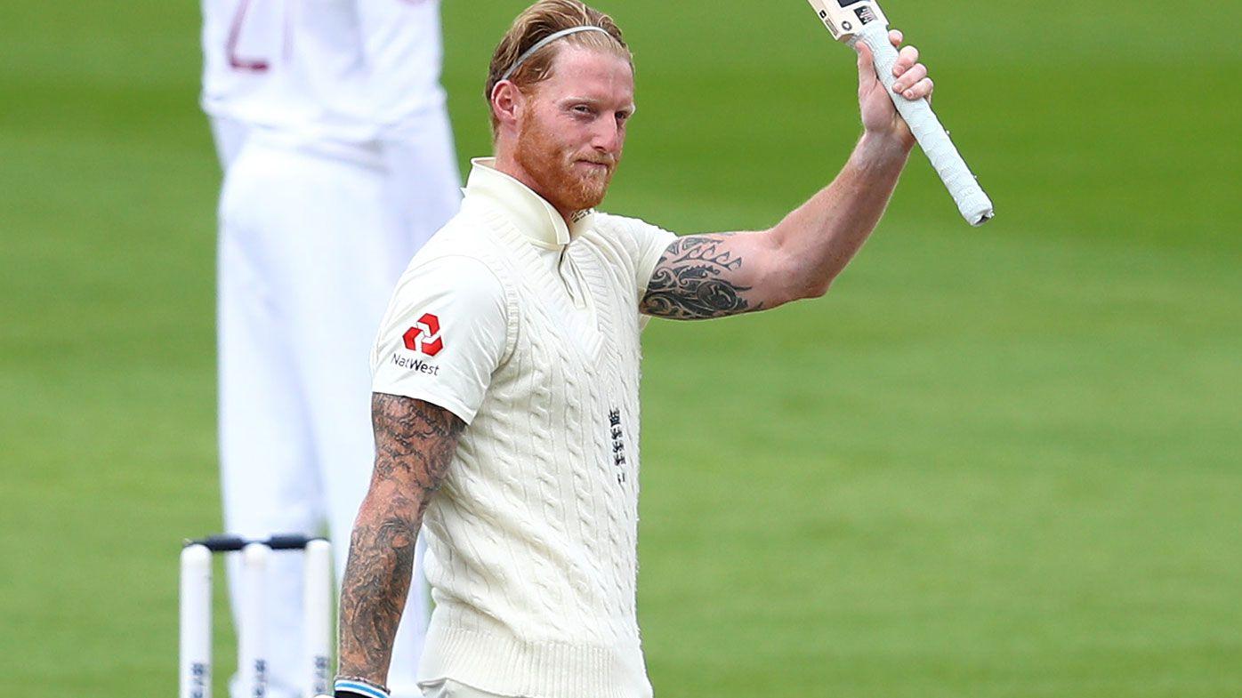 Ben Stokes of England celebrates after reaching his century