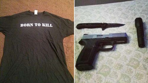 Polie allege Pagourtzis was wearing a shirt emblazoned with 'Born to Kill' when he carried out the massacre. Pictures is the shirt he posted to Facebook, and weapons uploaded to an Instagram account linked to Pagourtzis. (Facebook/Instagram)