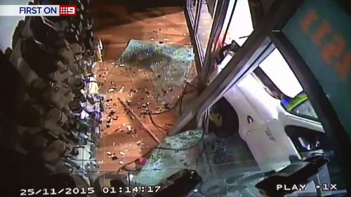 Security footage captured the ram raid. (9NEWS)