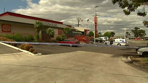 The injured man was found in the car park of a nearby fast food outlet. (9NEWS)