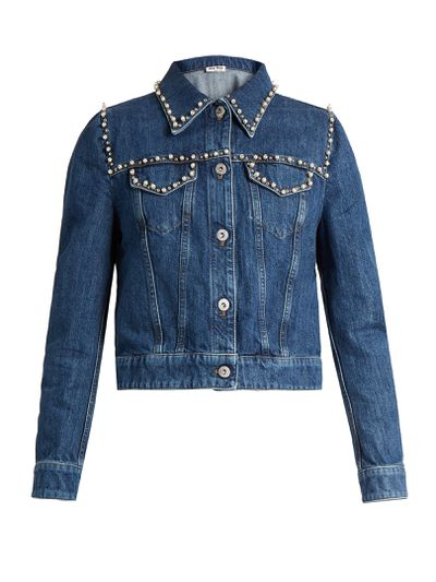 """<p>Denim done right</p> <p>Miu Miu embellished pearl denim jacket, $1495, at <strong><a href=""""http://www.matchesfashion.com/au/products/Miu-Miu-Pearl-embellished-cropped-denim-jacket-1076492"""" target=""""_blank"""">Matches</a></strong>.<br> </p>"""