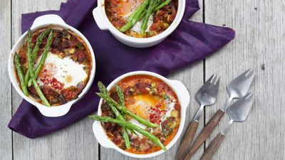 "Recipe: <a href=""http://kitchen.nine.com.au/2017/10/13/11/04/asparagus-with-spanish-eggs-and-chorizo"" target=""_top"">Asparagus with Spanish eggs and chorizo</a>"