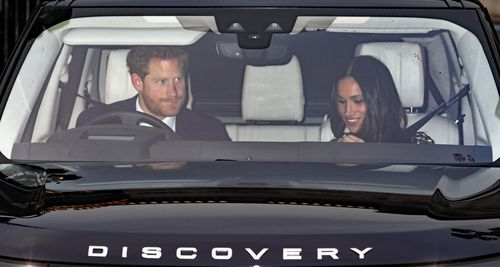 Britain's Prince Harry (L) and his fiancee, US actress Meghan Markle leave after the annual Christmas lunch at Buckingham Palace in London, Britain, 20 December 2017.