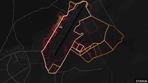 The Strava ap reveals the movements of US troops inside this Afghanistan base. (Image: Strava).