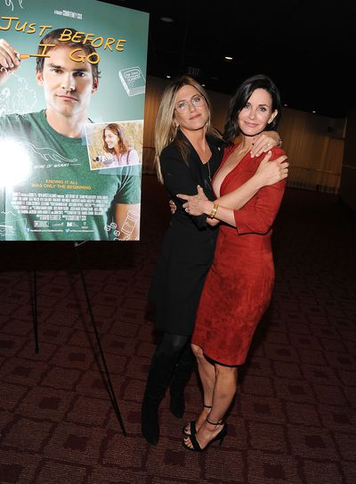 Jennifer Aniston and Courteney Cox at the Los Angeles screening of <em>Just Before I Go</em> in Hollywood, April, 2015