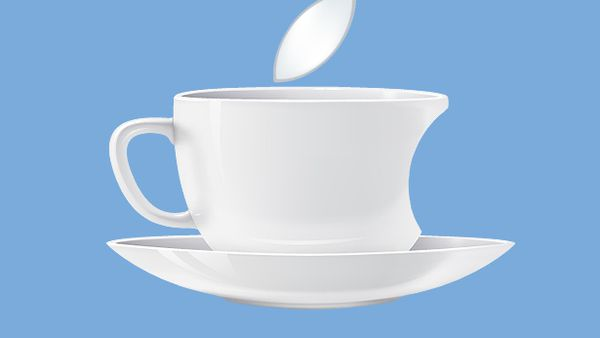 Coffee mug with Apple leaf and bite
