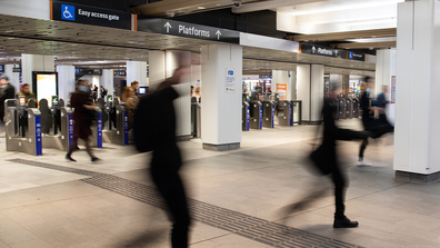 A general view is seen as people walk out of Wynyard station at a time which would usually be a busy commuter time on June 01, 2020 in Sydney, Australia.