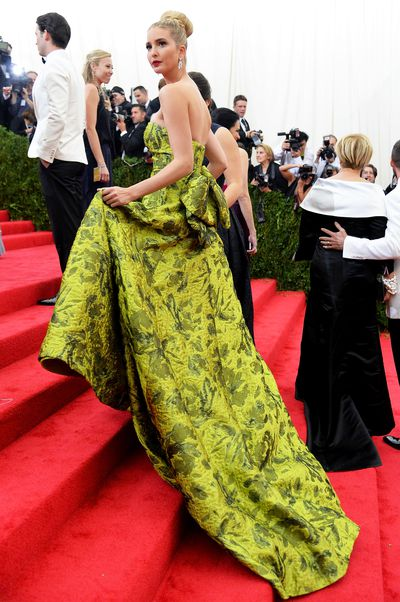 Ivanka Trump at the 2014 Met Gala in Oscar de la Renta. The theme was <em>Charles James: Beyond Fashion</em>.