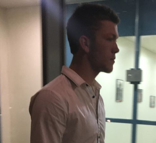 Hayden Currie leaves an out of sessions hearing after he was released on bail over charges stemming from a fatal crash in Oakleigh East.