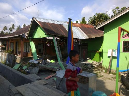 A powerful earthquake has rocked the Indonesian island of Sulawesi, triggering a three-metre-tall tsunami that an official said swept away houses in at least two cities.