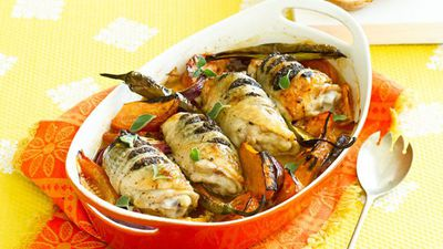 """Recipe:&nbsp;<a href=""""http://kitchen.nine.com.au/2016/05/05/16/27/chicken-bake"""" target=""""_top"""">Baked chicken thighs with tapenade</a>"""