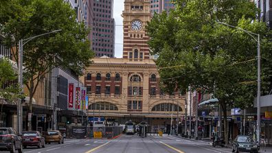 """An empty Melbourne CBD during the five-day """"circuit breaker"""" lockdown."""