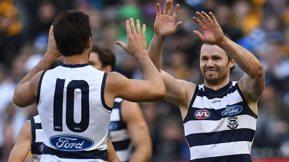 Patrick Dangerfield defied injury to star for Geelong. (AAP)