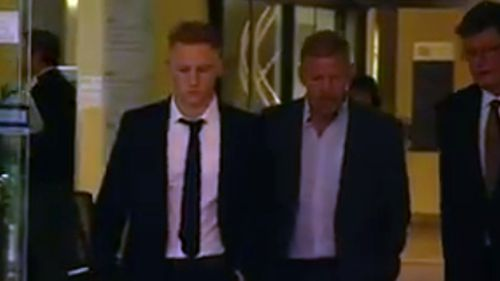 Sam Oliver (left) has denied flooring James Stannard in a one-punch attack.