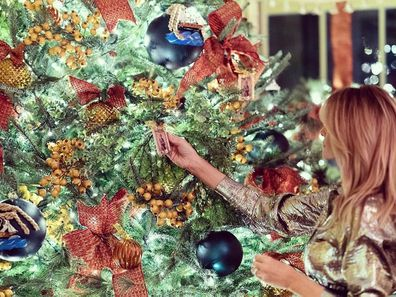 Melania Trump with her 2020 White House Christmas decorations.