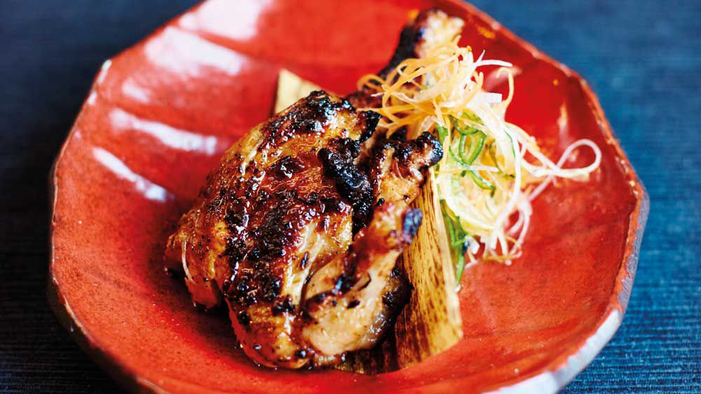 Miso-grilled baby chicken with lemon-garlic-chilli dipper