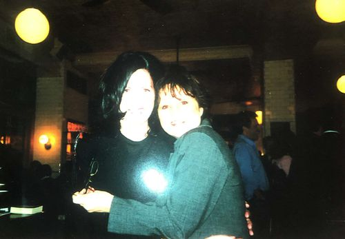 Good friends Lesley Thomas and Shele Lieberman embrace in New York City.