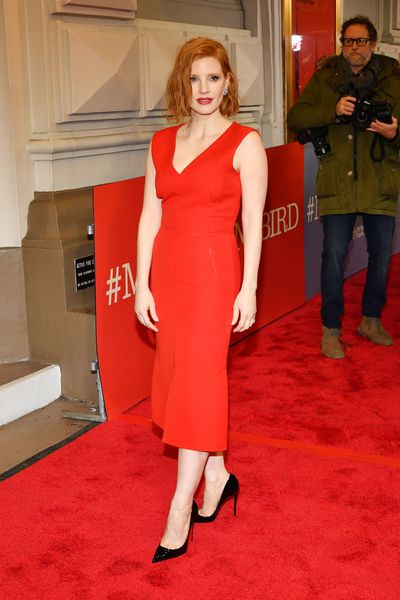c2cb224f350b Jessica Chastain proves a red dress is always a red carpet winner