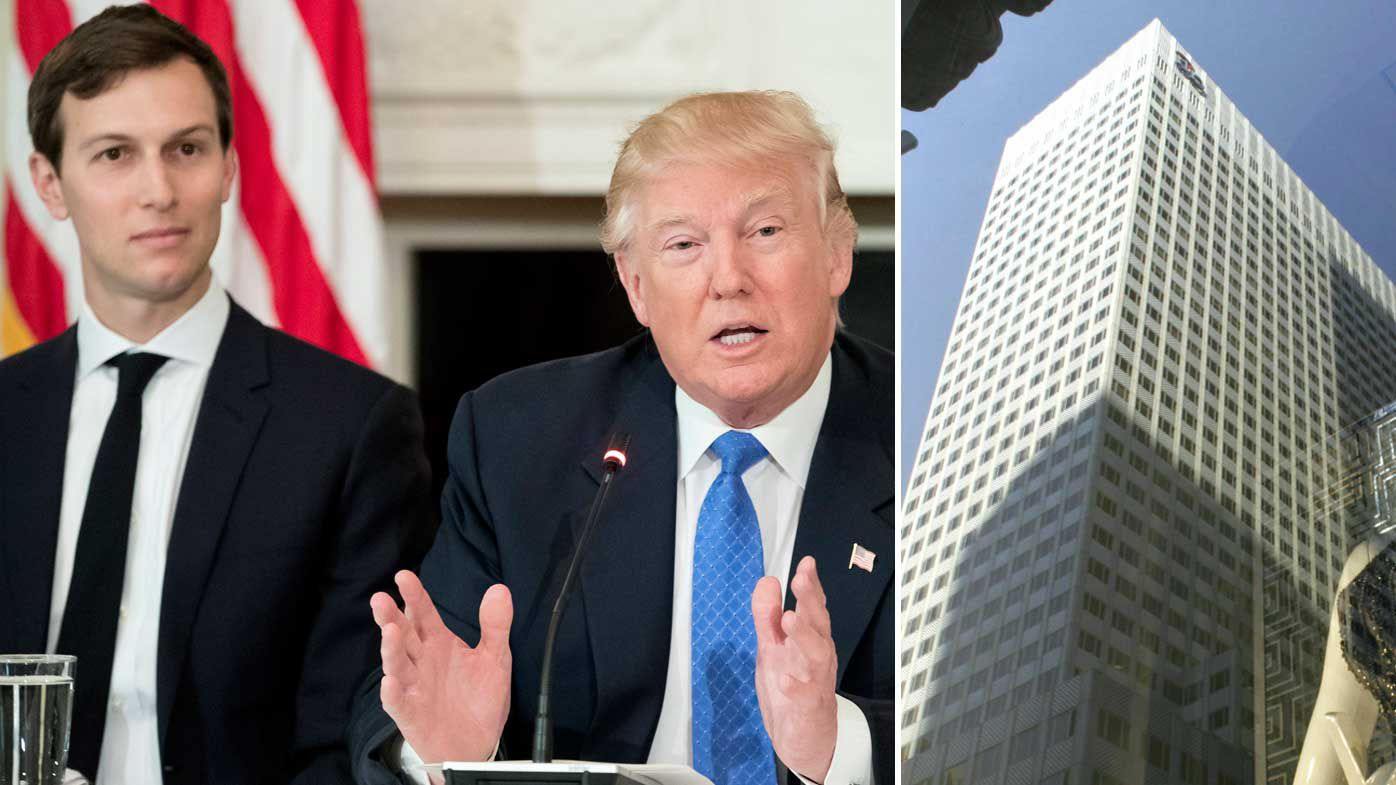 Jared Kushner and President Donald Trump, and the building being sold for $1.3 billion more than it's worth. (AP)