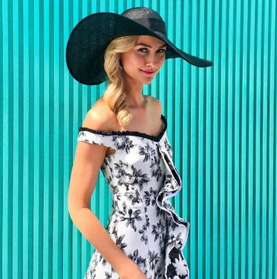 Model Bree Laughlin in Nicola Finetti dress and Jill Humphries hat.