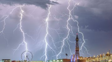 Overall Weather Photographer of the Year 2018: 'Electric Blackpool'. Multiple lightning strikes captured over Blackpool in North West England.