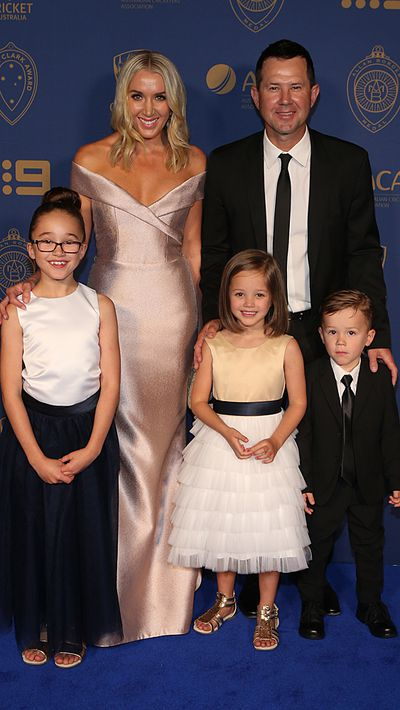 Ricky Ponting, his wife Rianna and their children.
