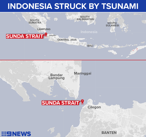 The tsunami hit coastal areas in the Sunda Strait.