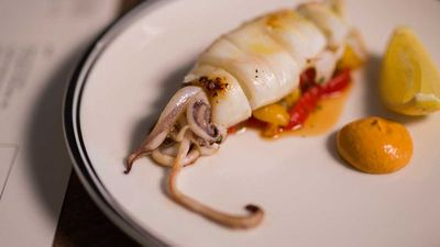 "Recipe: <a href=""http://kitchen.nine.com.au/2017/08/03/10/52/matt-morans-paddo-inn-hawkesbury-squid-with-romesco-sauce"" target=""_top"">Matt Moran's Paddo Inn squid</a>"