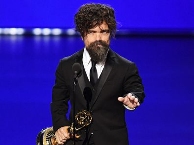 Peter Dinklage accepts his award at the 2019 Emmy Awards