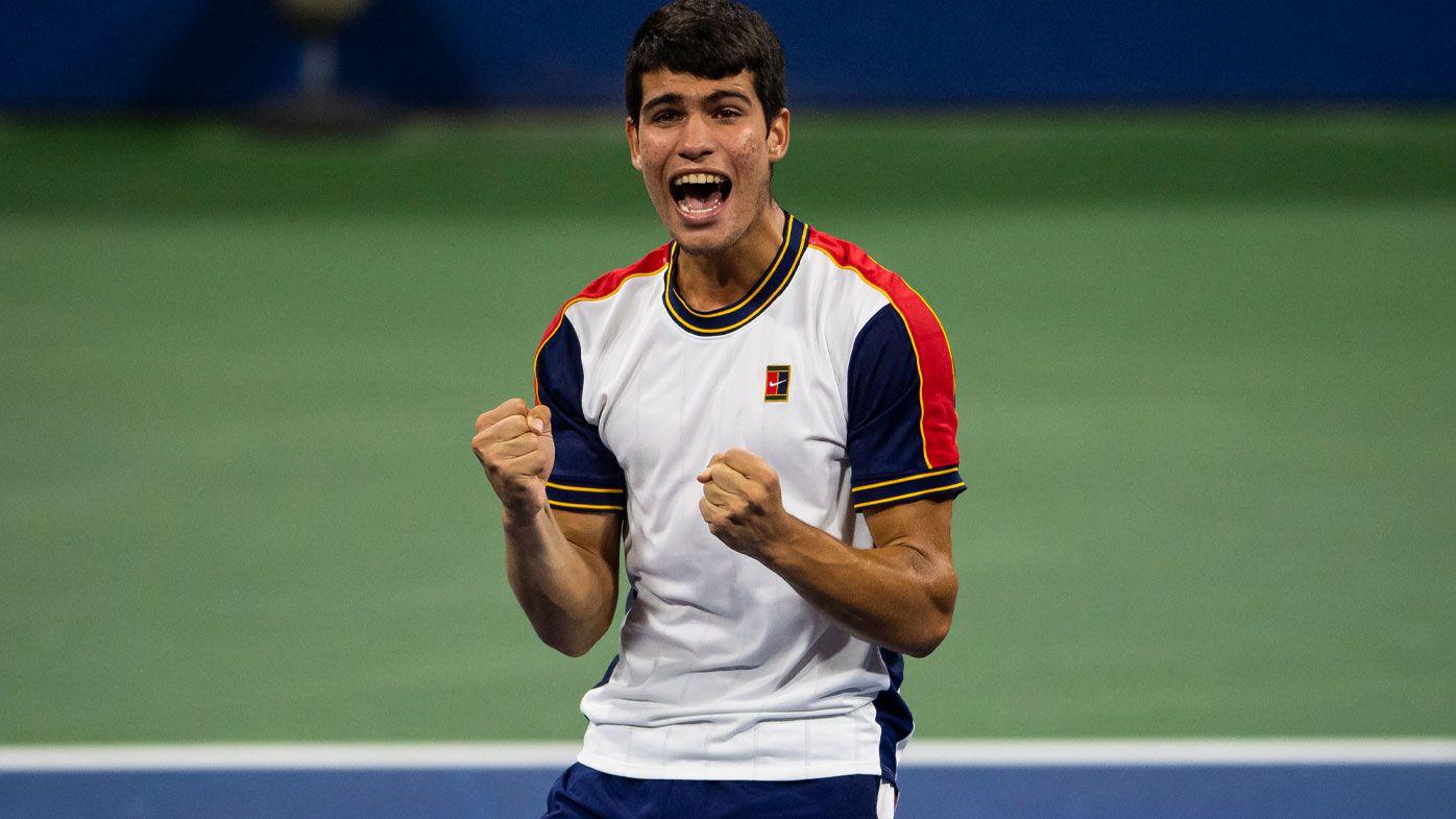 Carlos Alcaraz storms into the US Open quarter-finals.