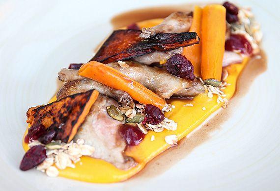 Cranberry-glazed quail with pumpkin and granola