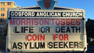 "Mr Morrison's controversial ""coin-toss"" asylum seeker policy didn't escape Fr Bower's notice."