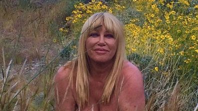 Suzanne Somers, nude, field, flowers, Palm Springs, birthday, Instagram, selfie
