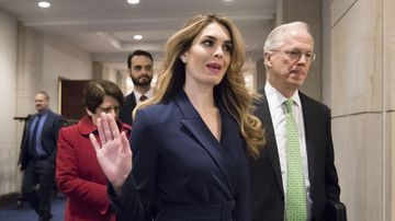 Hope Hicks arrives to meet behind closed doors with the House Intelligence Committee, at the Capitol in Washington. (AAP)