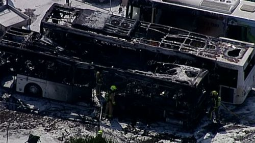 The blaze occurred in a car park on Ross Smith Avenue. (9NEWS)