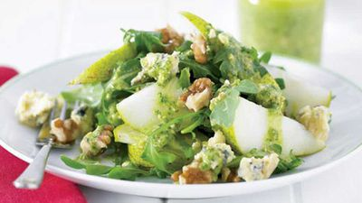 "Click through for our luscious <a href=""http://kitchen.nine.com.au/2016/05/13/11/10/pear-and-cheese-salad-with-pesto-dressing"" target=""_top"">pear and cheese salad with pesto dressing</a> recipe"