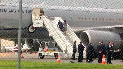 The royal parents spent only a few minutes on the tarmac before boarding the flight to New Zealand.