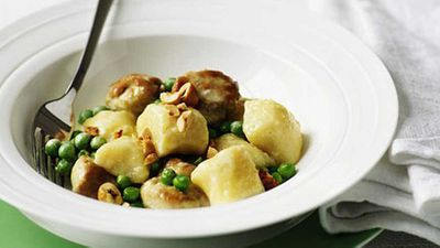 """Recipe:<a href=""""/2016/05/17/15/11/gnocchi-with-sweetbreads-peas-and-hazelnuts"""" target=""""_top"""">Gnocchi with sweetbreads, peas and hazelnuts</a>"""