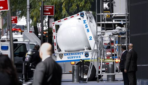The suspect package which the FBI said was a genuine bomb designed to kill, was taken away in a special truck in New York.