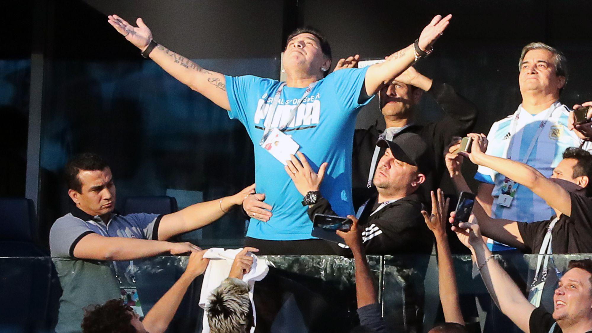 Diego Maradona soaks up the atmosphere during the Argentina-Nigeria 2018 World Cup clash.