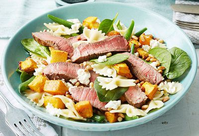 "Recipe: <a href=""http://kitchen.nine.com.au/2016/05/05/11/25/kate-waterhouses-warm-beef-pasta-and-roasted-pumpkin-salad"" target=""_top"">Kate Waterhouse's warm beef pasta and roasted pumpkin salad</a>"