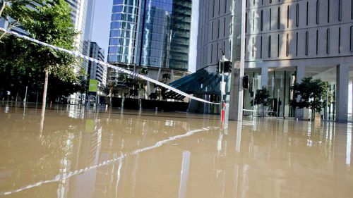 Brisbane CBD was flooded in January 2011.