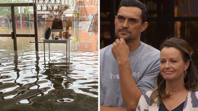 The Block's Andy and Deb show the reality of the NSW floods with her shop under water