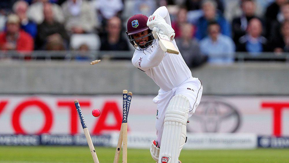 West Indies Shai Hope is bowled. (AAP)