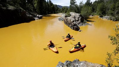 <p>One million gallons (approx 3.8 million L) of wastewater spilled into a Colorado river on Wednesday, causing the waterway to turn bright yellow.</p>  <p>The waste was spilled into Animas River in the state's south-west by the Environmental Protection Agency while the body investigated a leak at the nearby Gold King Mine.</p>  <p>The EPA confirmed to the Associated Press the waste contained heavy metals but have not yet revealed if they are harmful to humans or animals. </p> <p><strong>Click through to see images of the yellow-tinged river. </strong></p>