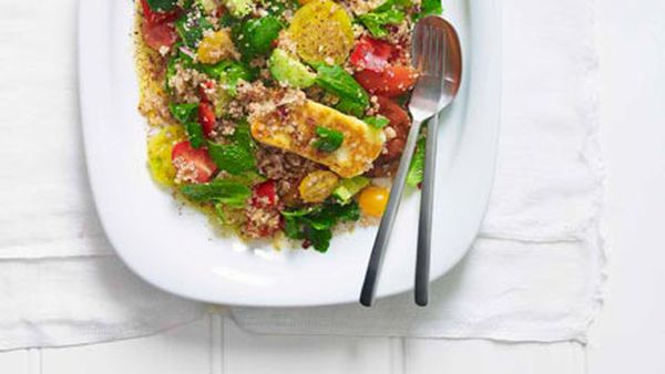 Haloumi and crushed wheat salad