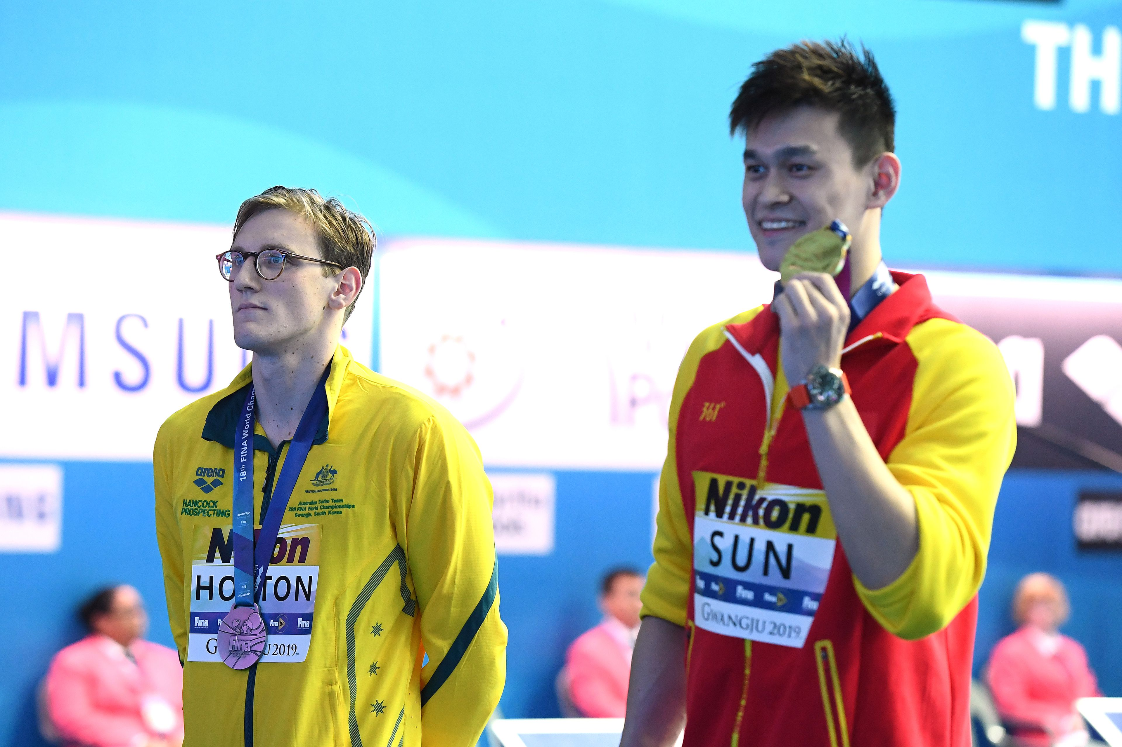 Silver medalist Mack Horton of Australia and gold medalist Sun Yang of China in 2019.
