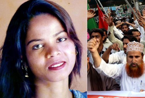 Pakistan Asia Bibi and some of the Muslim protesters who demanded her execution over a long running blasphemy case.