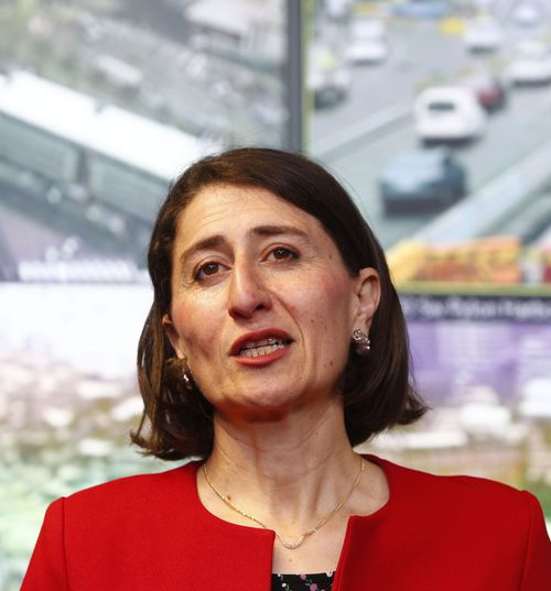 Gladys Berejiklian talks to the media during a press conference at the Transport Management Centre in Sydney today. (AAP)