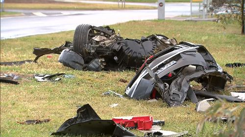 The back half of the car was ripped off in the horror crash. (9NEWS)
